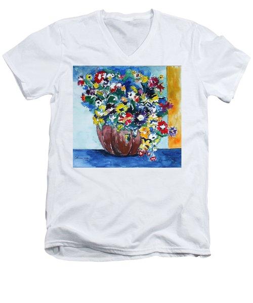Flower Jubilee Men's V-Neck T-Shirt by Esther Newman-Cohen