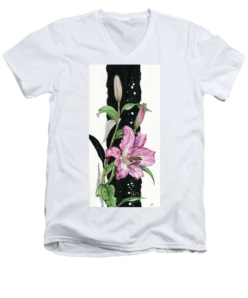 Men's V-Neck T-Shirt featuring the painting Flower Lily 02 Elena Yakubovich by Elena Yakubovich