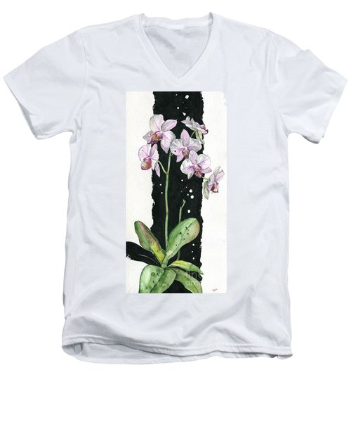 Men's V-Neck T-Shirt featuring the painting Flower Orchid 02 Elena Yakubovich by Elena Yakubovich