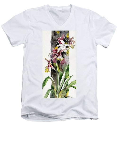 Men's V-Neck T-Shirt featuring the painting Flower Orchid 03 Elena Yakubovich by Elena Yakubovich