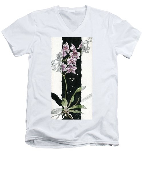 Men's V-Neck T-Shirt featuring the painting Flower Orchid 04 Elena Yakubovich by Elena Yakubovich