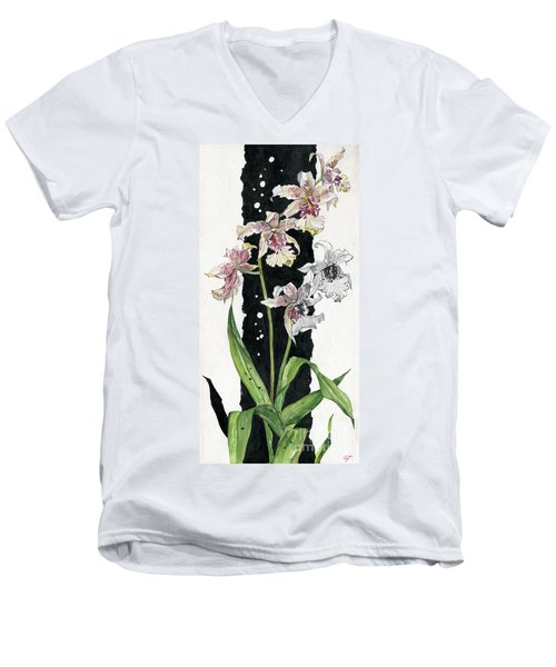 Men's V-Neck T-Shirt featuring the painting Flower Orchid 06 Elena Yakubovich by Elena Yakubovich