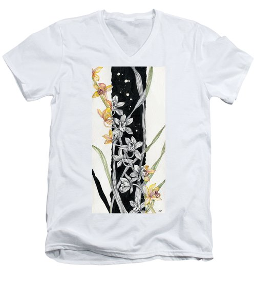 Men's V-Neck T-Shirt featuring the painting Flower Orchid 07 Elena Yakubovich by Elena Yakubovich
