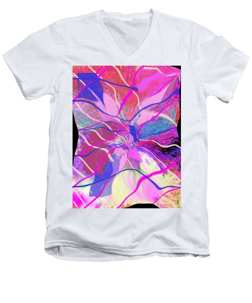 Original Contemporary Abstract Art Flowers From Heaven Men's V-Neck T-Shirt by RjFxx at beautifullart com