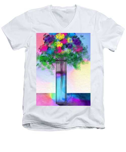 Men's V-Neck T-Shirt featuring the digital art Flowers In A Glass Vase by Frank Bright