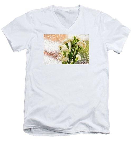 Flowers In Digital Impasto Men's V-Neck T-Shirt