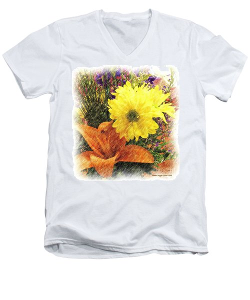 Men's V-Neck T-Shirt featuring the photograph Flowers With Love by Luther Fine Art