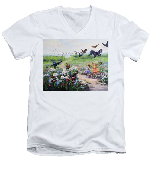 Men's V-Neck T-Shirt featuring the painting Flutterby Dreams by Karen Ilari