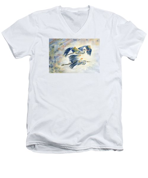 Flying Together Men's V-Neck T-Shirt by Melly Terpening