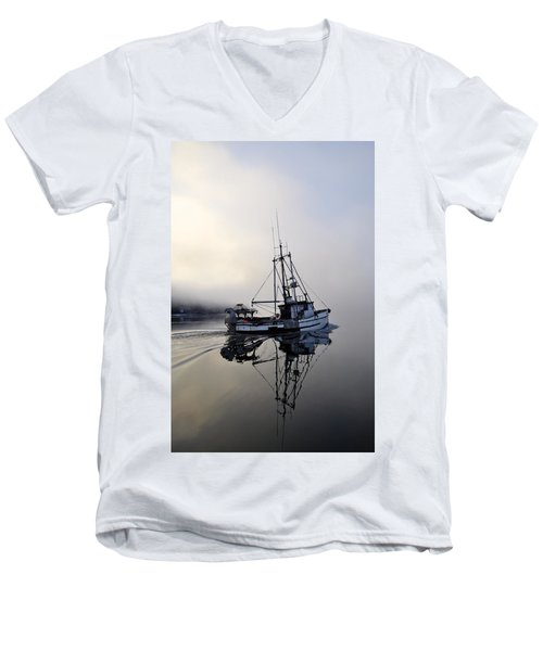 Fog Bound Men's V-Neck T-Shirt by Cathy Mahnke