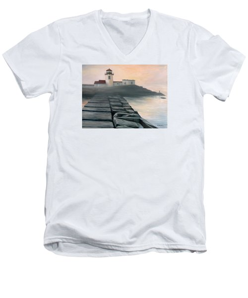 Fog Burning Off Men's V-Neck T-Shirt by Eileen Patten Oliver