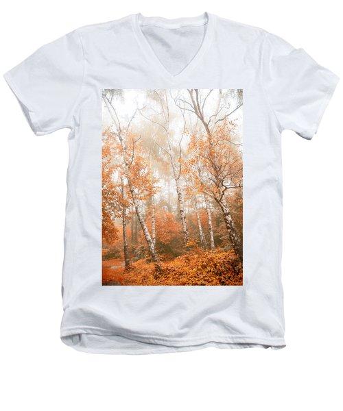 Foggy Autumn Aspens Men's V-Neck T-Shirt