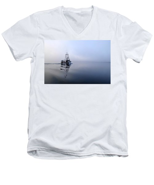 Foggy Men's V-Neck T-Shirt by Cathy Mahnke
