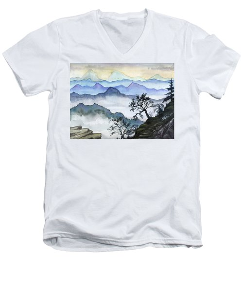 Foggy Mountaines Sunset View  Men's V-Neck T-Shirt