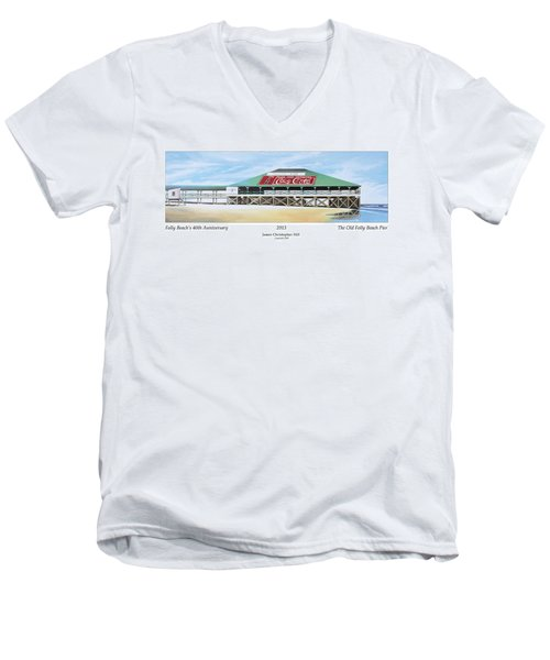 Folly Beach Original Pier Men's V-Neck T-Shirt