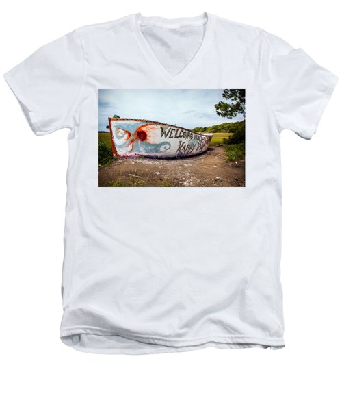 Men's V-Neck T-Shirt featuring the photograph Folly Boat by Sennie Pierson