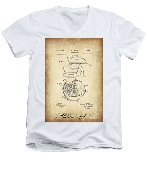 Food Mixer Patent Kitchen Art Men's V-Neck T-Shirt