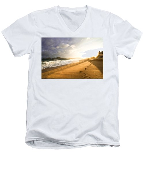 Men's V-Neck T-Shirt featuring the photograph Footsteps In The Sand by Eti Reid
