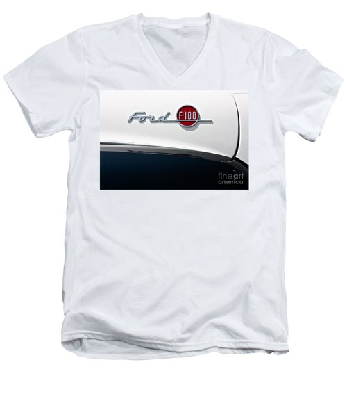 Ford F-100 Men's V-Neck T-Shirt by Linda Bianic