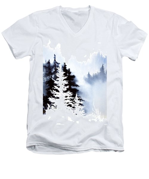 Men's V-Neck T-Shirt featuring the painting Forest Indigo by Teresa Ascone