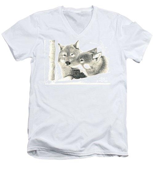 Forever Wolf Love-the Greeting Men's V-Neck T-Shirt