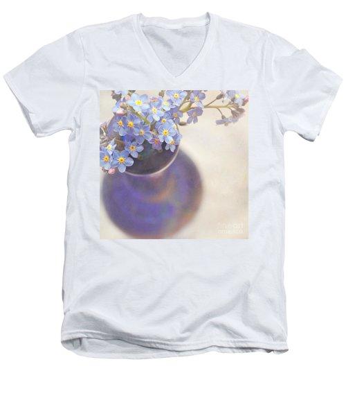 Forget Me Nots In Blue Vase Men's V-Neck T-Shirt