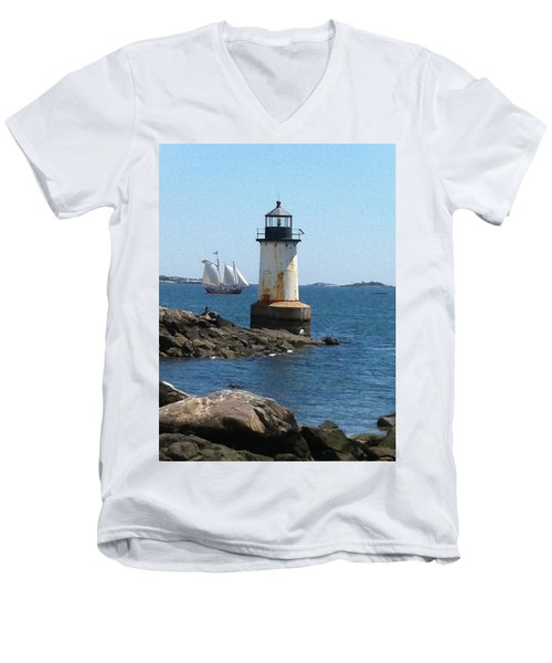 Men's V-Neck T-Shirt featuring the photograph Fort Pickering Light by Denyse Duhaime