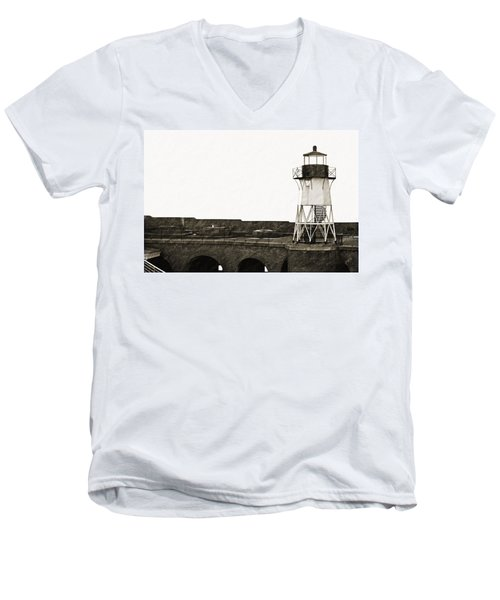 Fort Point Lighthouse Men's V-Neck T-Shirt by Holly Blunkall