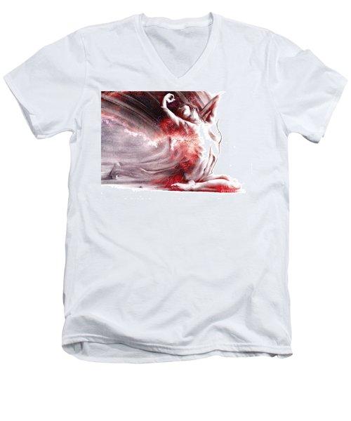 Fount Iv Textured Men's V-Neck T-Shirt by Paul Davenport
