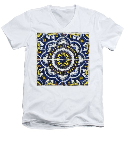 Four Painted Tiles-mexico Men's V-Neck T-Shirt by Michael Flood