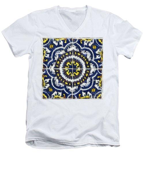 Four Painted Tiles-mexico Men's V-Neck T-Shirt