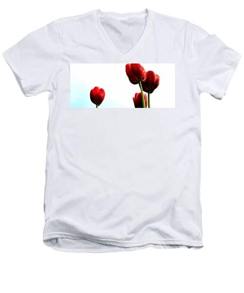 Four Red Tulips Men's V-Neck T-Shirt