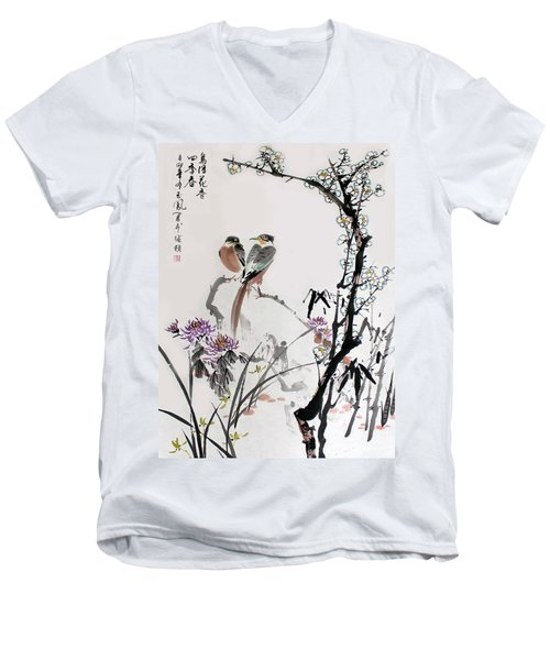Men's V-Neck T-Shirt featuring the photograph Four Seasons In Harmony by Yufeng Wang
