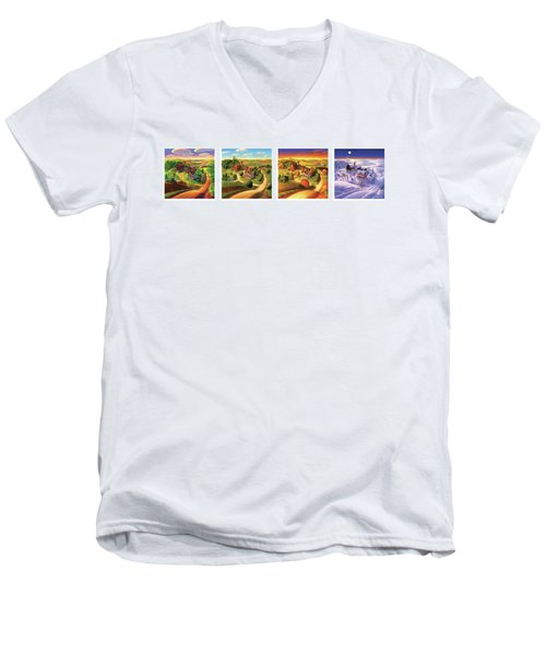 Men's V-Neck T-Shirt featuring the painting Four Seasons On The Farm by Robin Moline