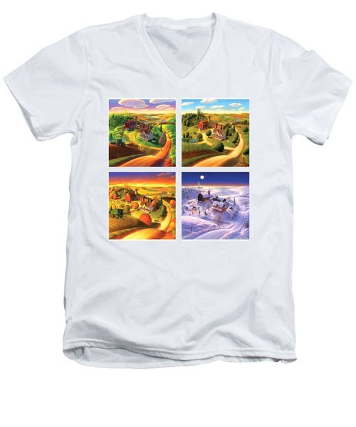 Four Seasons On The Farm Squared Men's V-Neck T-Shirt