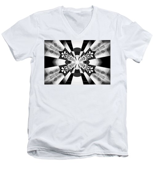 Men's V-Neck T-Shirt featuring the drawing Four Star Gateway by Derek Gedney