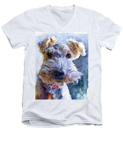 Fox Terrier Full Men's V-Neck T-Shirt by John D Benson