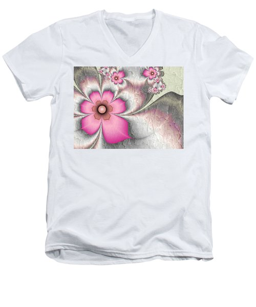 Fractal Nostalgic Flowers 2 Men's V-Neck T-Shirt