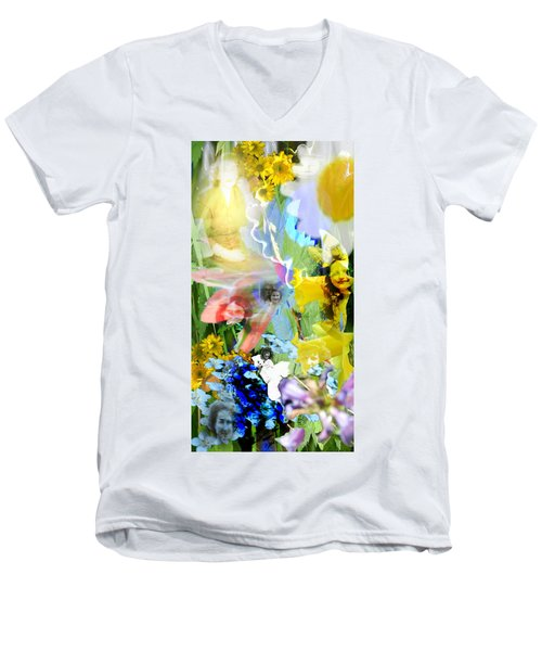 Men's V-Neck T-Shirt featuring the digital art Framed In Flowers by Cathy Anderson