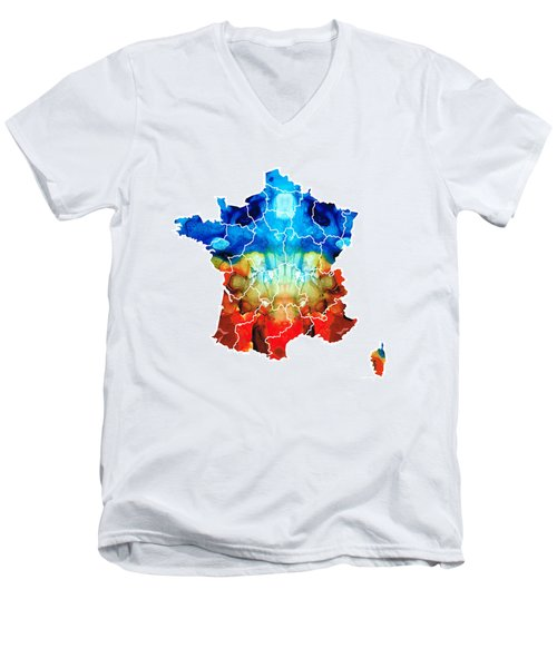 France - European Map By Sharon Cummings Men's V-Neck T-Shirt by Sharon Cummings