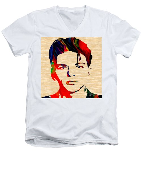 Men's V-Neck T-Shirt featuring the mixed media Frank Sinatra Art by Marvin Blaine