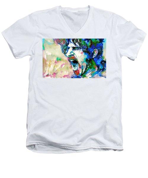 Frank Zappa  Portrait.4 Men's V-Neck T-Shirt by Fabrizio Cassetta