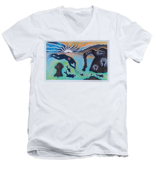 Free Man Off Of Pirates Cove Men's V-Neck T-Shirt