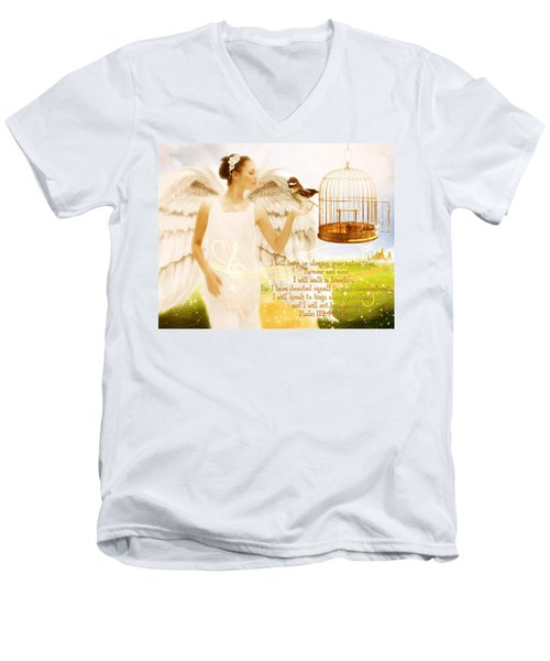 Freedom Song With Scripture Men's V-Neck T-Shirt