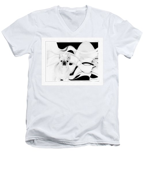 Men's V-Neck T-Shirt featuring the painting French Bulldog by Barbara Chichester