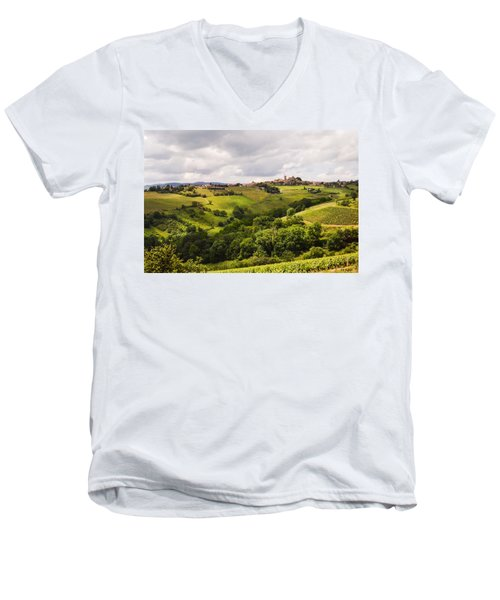 Men's V-Neck T-Shirt featuring the photograph French Countryside by Allen Sheffield