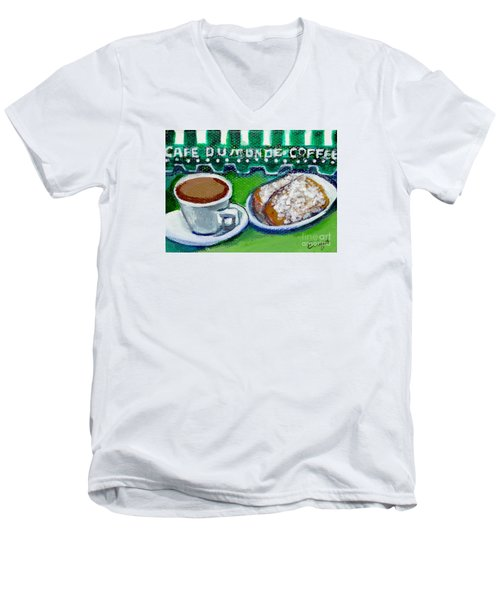 Men's V-Neck T-Shirt featuring the painting French Quarter Delight by Ecinja