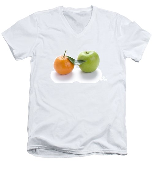 Men's V-Neck T-Shirt featuring the photograph Fresh Apple And Orange On White by Lee Avison