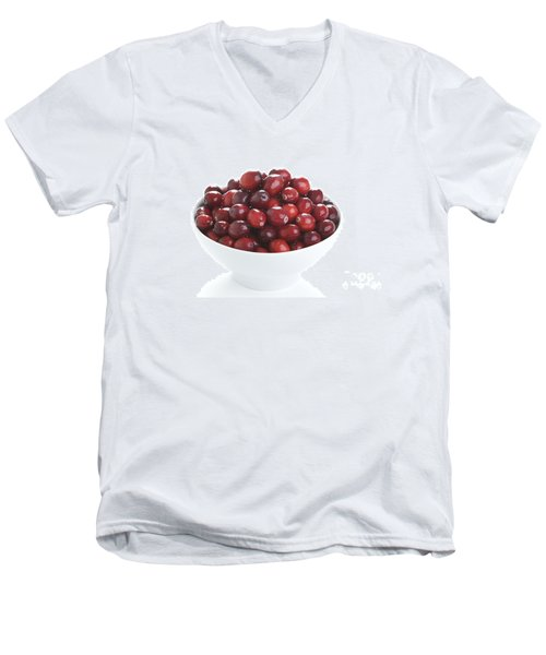 Men's V-Neck T-Shirt featuring the photograph Fresh Cranberries In A White Bowl by Lee Avison