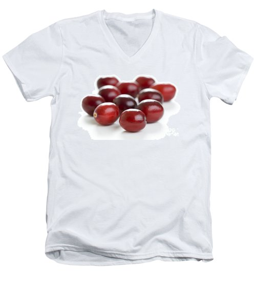 Men's V-Neck T-Shirt featuring the photograph Fresh Cranberries Isolated by Lee Avison